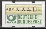 40 (Pf) Automatenmarke 1 postfrisch mit Zählnummer (BRD-ATM)