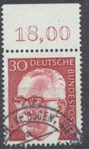 638 gestempelt mit Bogenrand oben (RWZ 18,00)  (BRD)