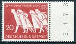 BRD  215 postfrisch Bogenrand rechts mit Bogenzählnummer
