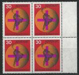BRD 545 postfrisch Viererblocksatz mit Bogenrand rechts