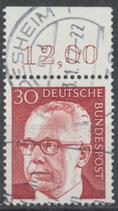 638 gestempelt mit Bogenrand oben  (RWZ 12,00)  (BRD)