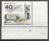 BERL  258 postfrisch Eckrand rechts unten mit Formnummer 1