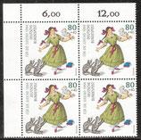 BRD 1726-1730 postfrisch Viererblocksatz mit Eckrand links oben (RWZ)
