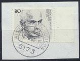 BRD 1350 gestempelt mit Bogenrand rechts auf Briefstück