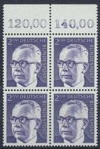 BRD 645 postfrisch Viererblock mit Bogenrand oben