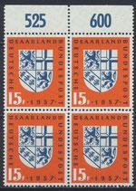 SAAR 379 postfrisch Viererblock mit Bogenrand oben