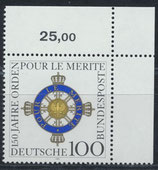 BRD 1613 postfrisch mit Eckrand rechts oben