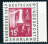 SAAR 400 postfrisch mit Bogenrand rechts