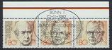 BRD 1156-1157-1158 gestempelt waagrechter Zusammendruck mit Rand oben (f)