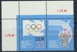DDR 2949 postfrisch Zusammendruck mit Eckrand links oben