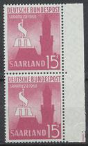SAAR 435 postfrisch senkrechtes Paar mit Bogenrand rechts