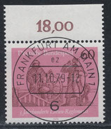 BRD 1022 gestempelt mit Bogenrand oben (RWZ 18,00)