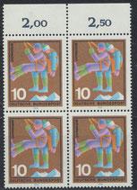 BRD 630 postfrisch Viererblock mit Bogenrand oben