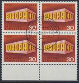BRD 584 gestempelt Viererblock mit Bogenrand  unten