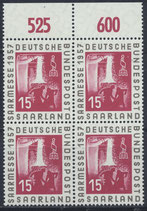SAAR 400 postfrisch Viererblock mit Bogenrand oben