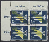 DDR 615 philat. Stempel Viererblock mit Eckrand links oben (RWZ)