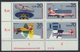 DDR postfrisch Viererblock mit Eckrand links unten