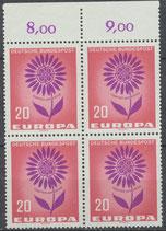 BRD 446 postfrisch Viererblock mit Bogenrand oben