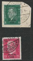 DR 444-445 gestempelt/ auf Briefsstück