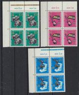 DDR 1130-1132 postfrisch Viererblöcke mit Eckrand links oben