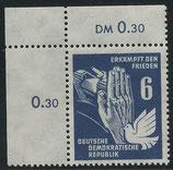 276 (Mi. Nr.) postfrisch Eckrand links oben (DDR)