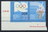 DDR 2949 postfrisch Zusammendruck mit Eckrand links unten