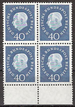 BERL 185 postfrisch Viererblock mit Unterrand
