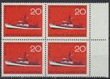 BRD 478 postfrisch Viererblock mit Bogenrand rechts