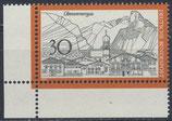 BRD 622 postfrisch Viererblock mit Eckrand links unten