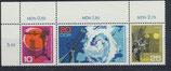 DDR 1343-1345 postfrisch Dreierstreifen mit Eckrand links oben
