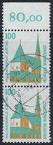 1406 gestempelt senkrechtes Paar mit Bogenrand oben (RWZ 80,00) (BRD)