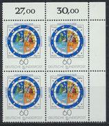 BRD 1155 postfrisch Viererblock mit Eckrand rechts oben