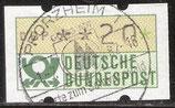 20 (Pf) Automatenmarke 1 gestempelt mit Zählnummer (BRD-ATM)