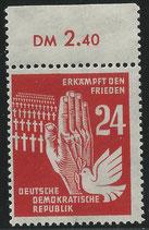 DDR 279  postfrisch Bogenrand oben (RWZ 2,40)