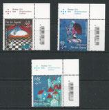 BRD 3096-3098 postfrisch mit Eckrand rechts oben