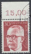 638 gestempelt mit Bogenrand oben (RWZ 15,00)  (BRD)