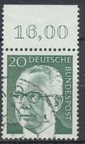 BRD 637 gestempelt mit Bogenrand oben (RWZ 16,00)