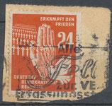 DDR 279 gestempelt auf Briefstück
