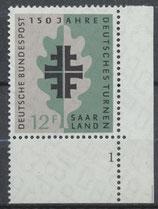 SAAR 437 postfrisch mit Eckrand rechts unten