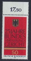 BRD 879 postfrisch mit Bogenrand oben