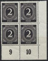 ABGA 912 postfrisch Viererblock mit Eckrand rechts unten