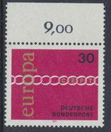 BRD 675 postfrisch mit Bogenrand oben