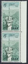 SAAR 369 postfrisch senkrechtes Paar mit Bogenrand rechts
