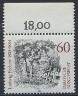BRD 1213 postfrisch mit Bogenrand oben