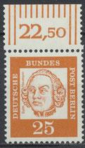 205 postfrisch Bogenrand oben (RWZ 22,50) (BERL)