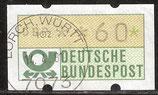 60 (Pf) Automatenmarke 1 gestempelt mit Zählnummer (BRD-ATM)