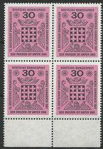 BRD 536 postfrisch Viererblock mit Bogenrand unten