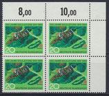 BRD 602 postfrisch Viererblock mit Eckrand rechts oben