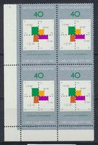 BRD 928 postfrisch Viererblock mit Eckrand links unten