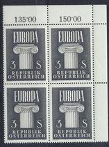 AT 1081 postfrisch Viererblock mit Eckrand rechts oben (RWZ)